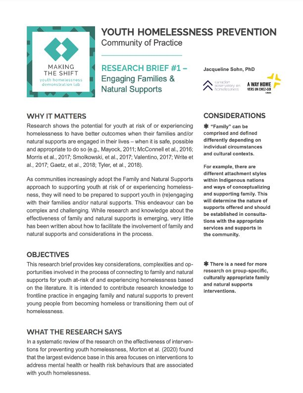Research Brief: Engaging Families and Natural Supports